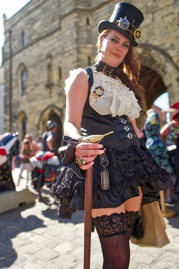 A lady dressed in steampunk clothing